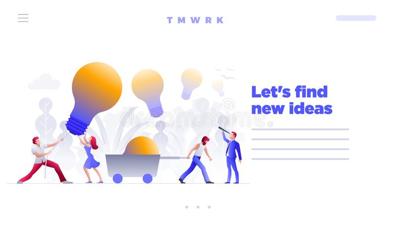 Find and hunt new ideas concept web site design template. Business people meeting and brainstorming and search, find and hunt new ideas, solutions and vector illustration