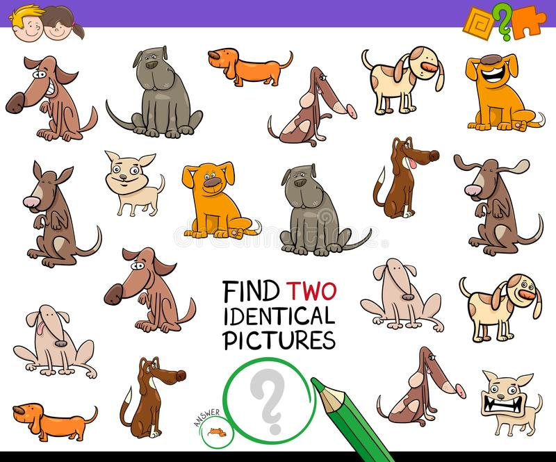 Find identical cartoon pictures of dogs game vector illustration