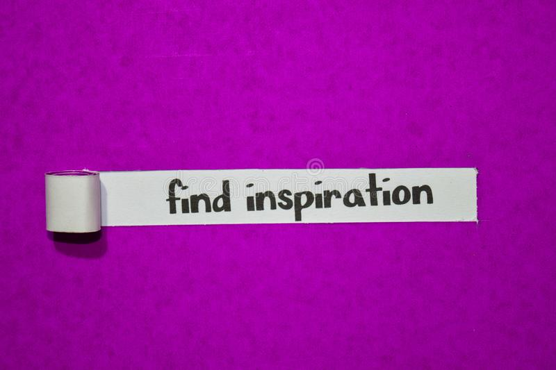 Find inspiration text, Inspiration, Motivation and business concept on purple torn paper stock images