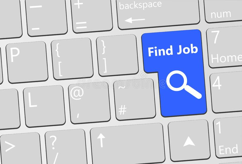Find job enter button. Enter key replace with a find job key vector illustration