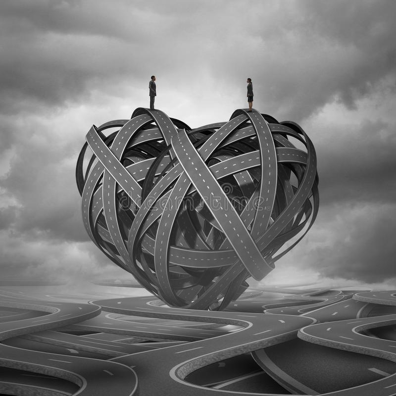 Find Love. And a complicated romantic relationship concept as a man and woman on a group of road paths shaped as a heart as a dating or marriage symbol with 3D stock illustration