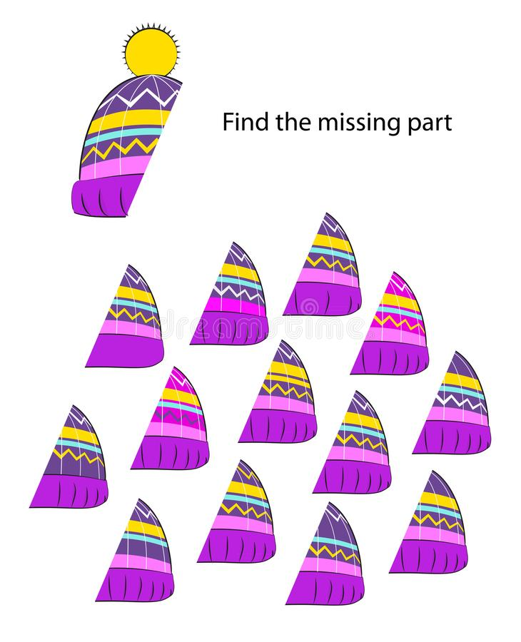 Logic visual puzzle for kids find the missing part royalty free illustration