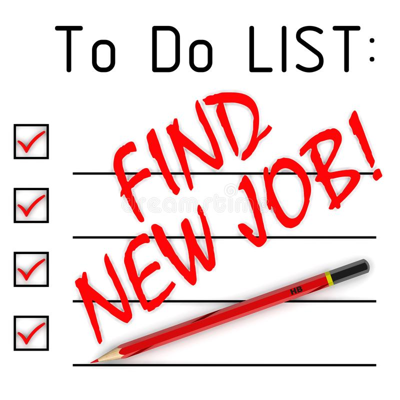 Find new job! To do list. Red pencil and a large red text FIND NEW JOB! in to do list. Isolated. 3D Illustration vector illustration