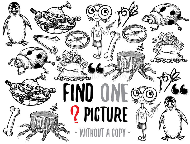 Find one picture educational game stock illustration