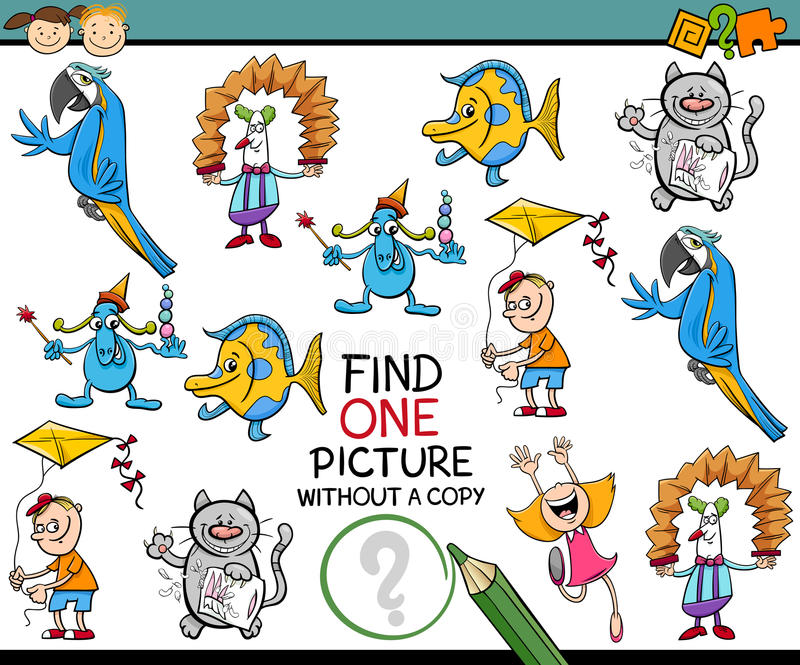 Find one picture game for kids vector illustration