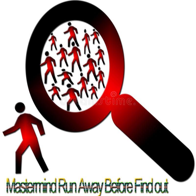 Find-out criminal. Mastermind run away before find out this is very unique and it can be use any where like any investigation sites, can use as a message for royalty free illustration