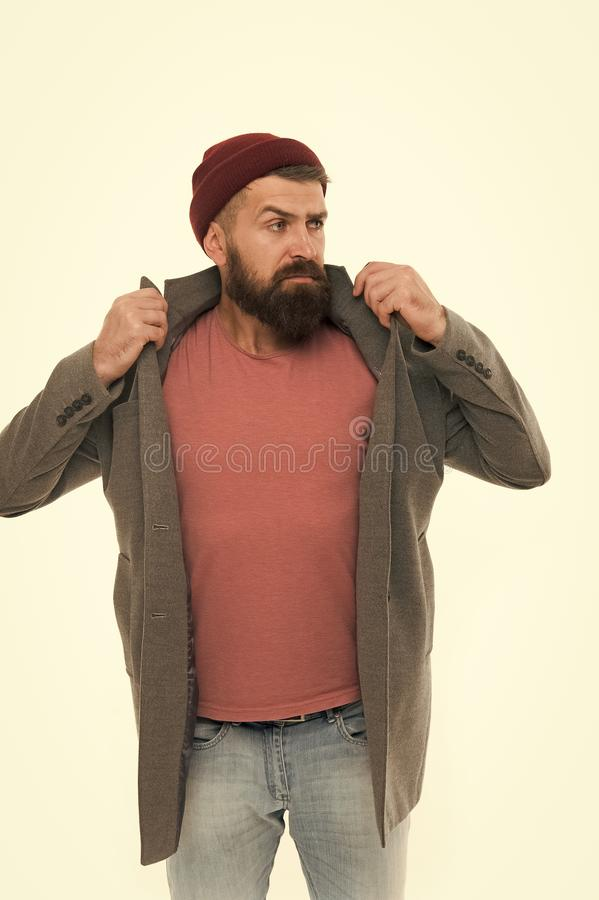 Find outfit style you feel comfortable. Stylish casual outfit. Menswear and fashion concept. Man bearded hipster stylish. Fashionable coat and hat. Stylish stock photos