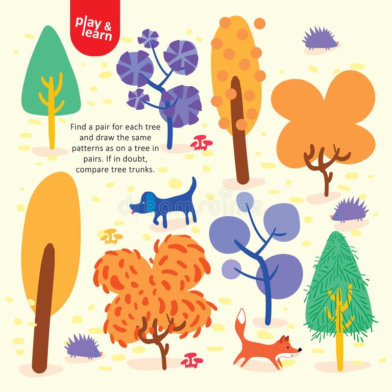Find Pair for Each Tree Child Graphic Illustration royalty free illustration