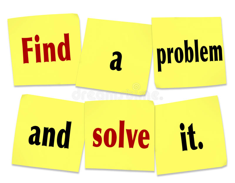 Find a Problem and Solve It Words Sticky Notes New Business stock illustration