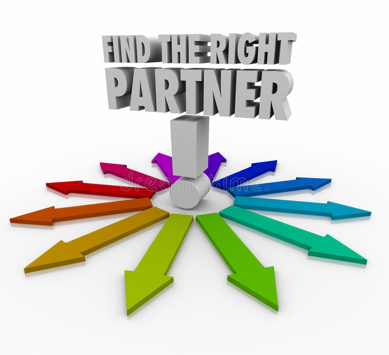 Find the Right Partner Choose Candidate Collaborate Cooperate. Find the Right Partner words surrounded by arrows pointing you to consider or choose the best royalty free illustration