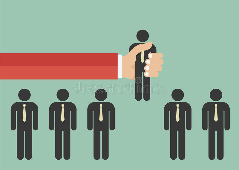 Find the right person for the job concept. Hiring and recruiting new employees. Flat design royalty free illustration