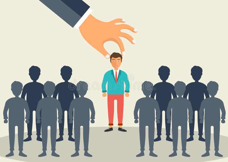 Find the right person for the job concept. Hiring and recruiting new employees. Flat vector design royalty free illustration