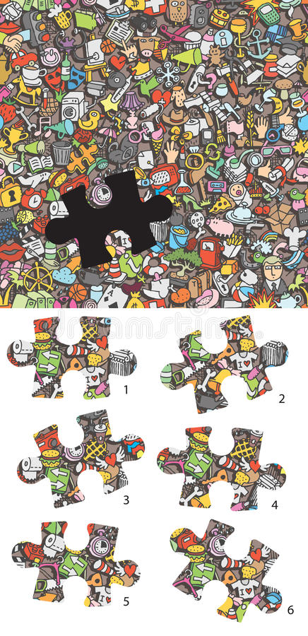 Find the right piece visual game. Solution in hidden layer! stock illustration