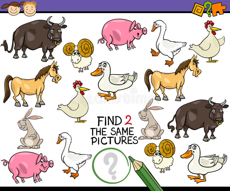 Find same picture game cartoon vector illustration