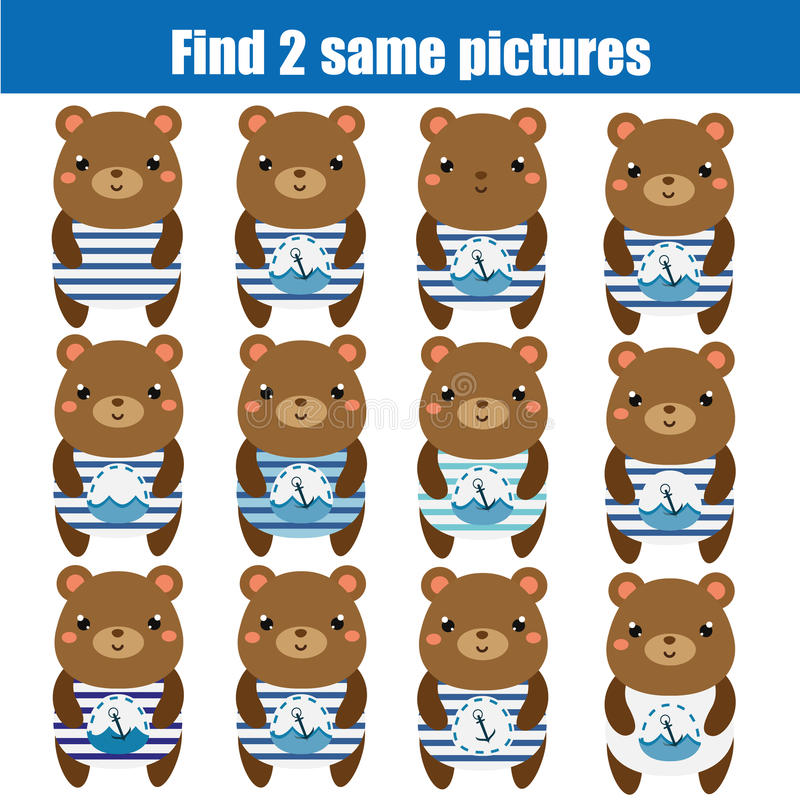 Find the same pictures children educational game. Animals theme. Find the same pictures children educational game. Find equal pairs of bears kids activity stock illustration