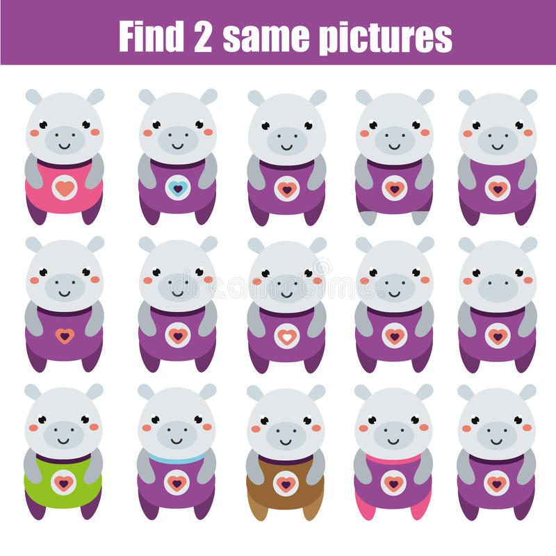 Find the same pictures children educational game. Animals theme. Find the same pictures children educational game. Find equal pairs of hippo kids activity vector illustration