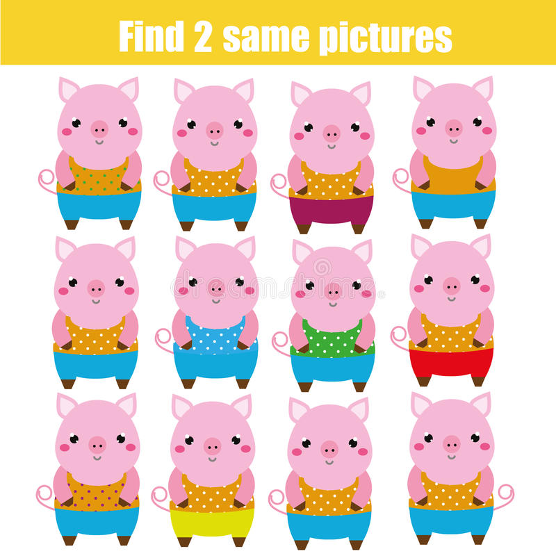 Find the same pictures children educational game. Animals theme royalty free illustration