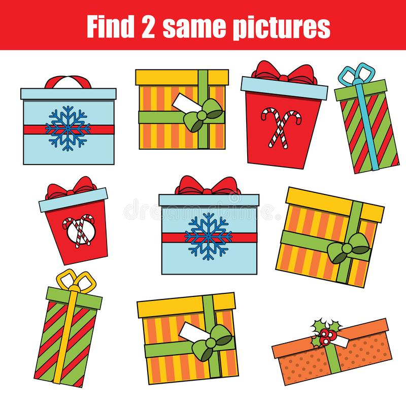 Find the same pictures children educational game. Christmas, winter holidays theme. royalty free illustration