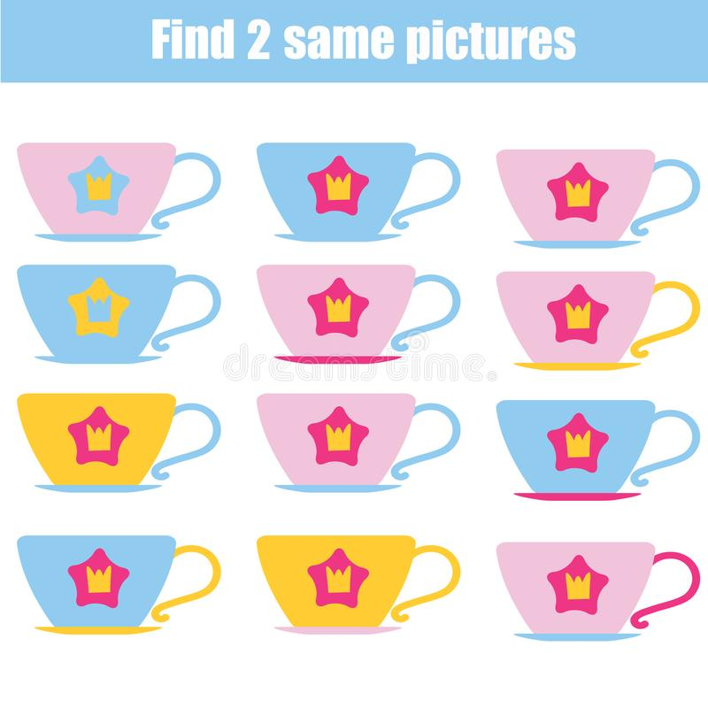 Find the same pictures children educational game. Find same cups stock illustration