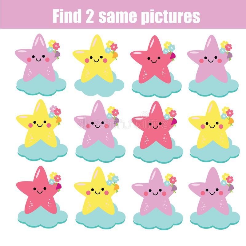 Find the same pictures children educational game. Find same cute stars vector illustration
