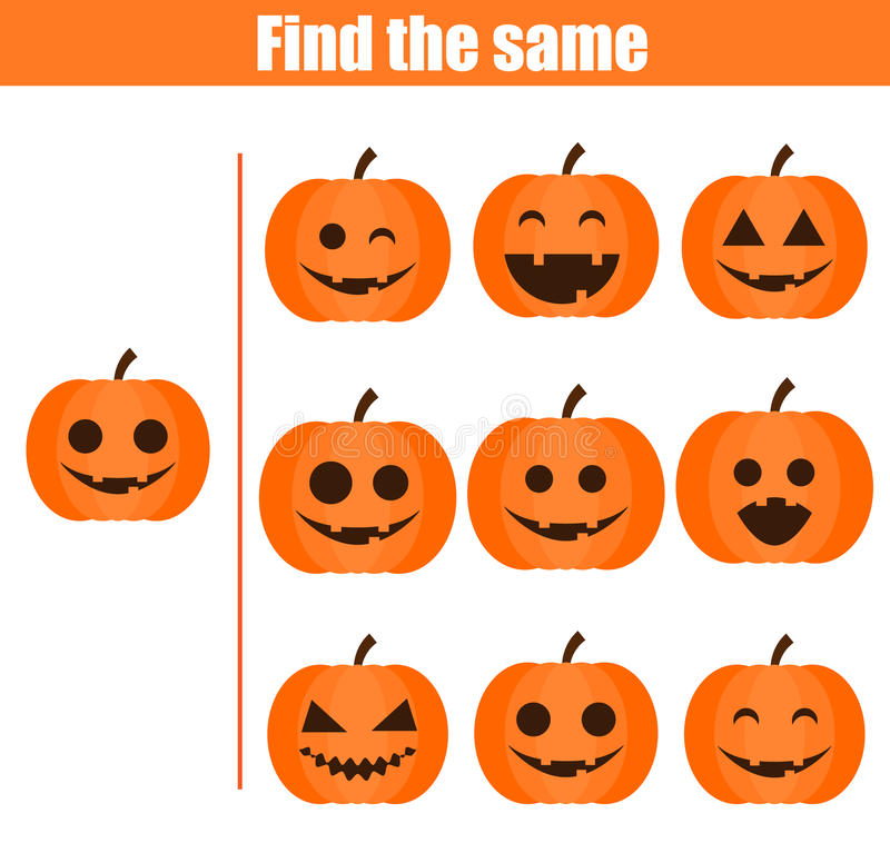 Find the same pictures children educational game. Halloween theme vector illustration