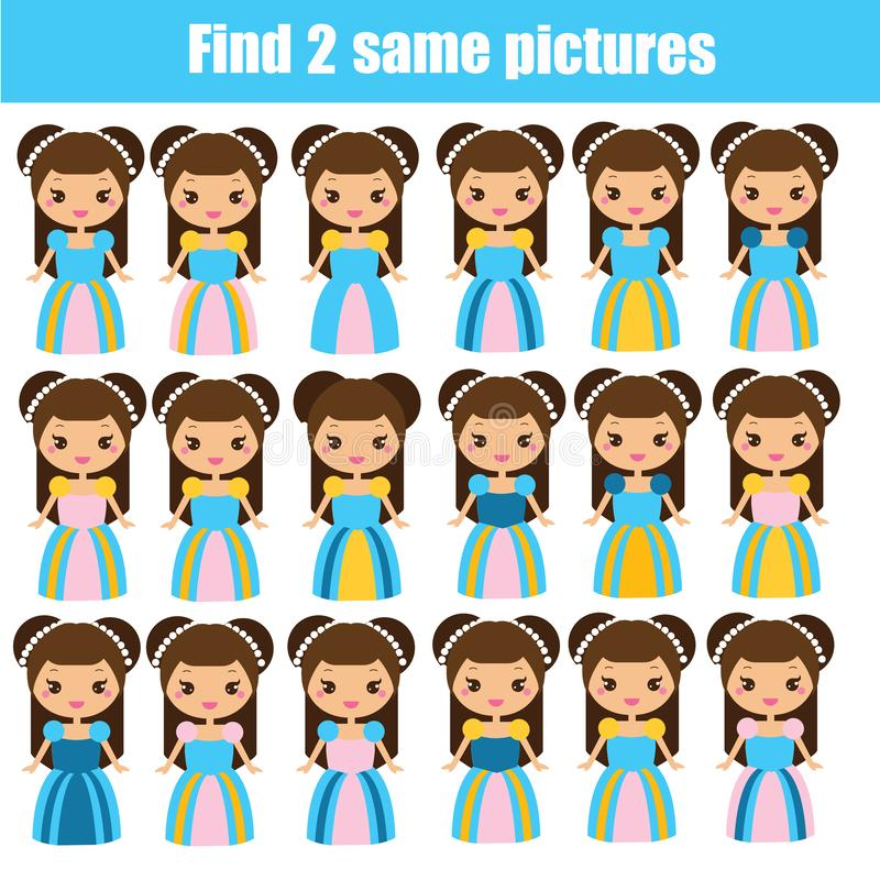 Find the same pictures children educational game. Find pairs of cute princess royalty free illustration
