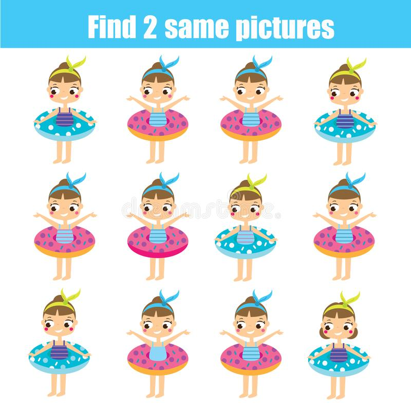 Find the same pictures children educational game. Find same summer girls royalty free illustration