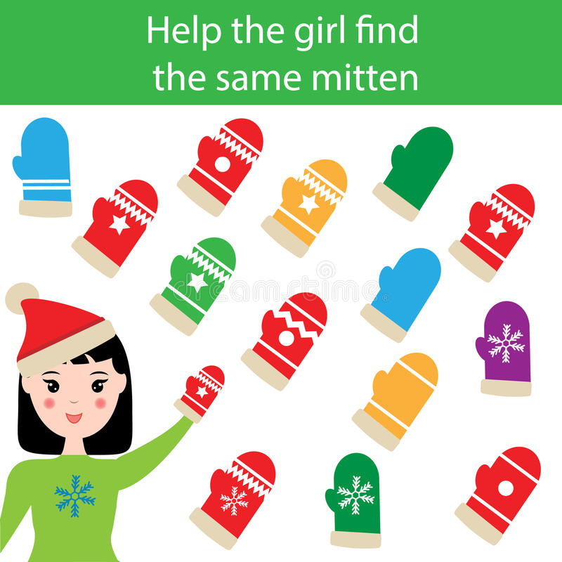 Find the same pictures children educational game with winter mittens stock illustration