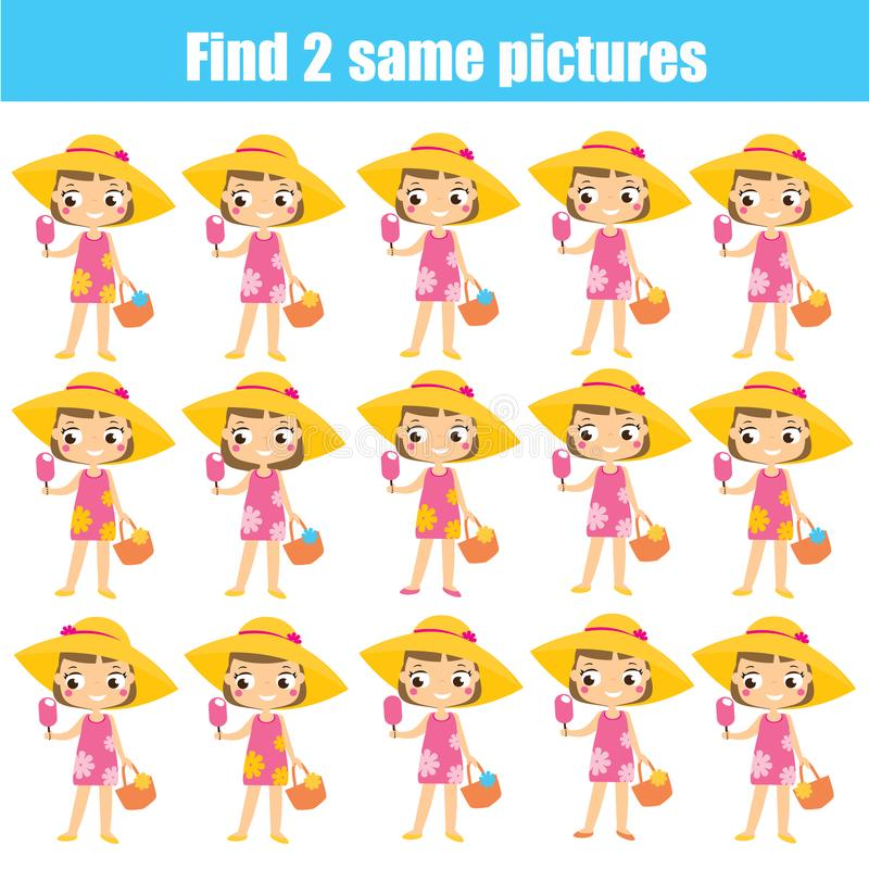 Find the same pictures educational game. Summertime theme activity for children and kids vector illustration