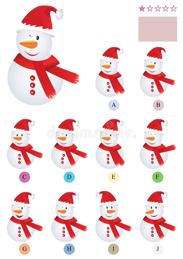 Download Find The Same Snowman_eps stock vector. Image of compare - 22138193