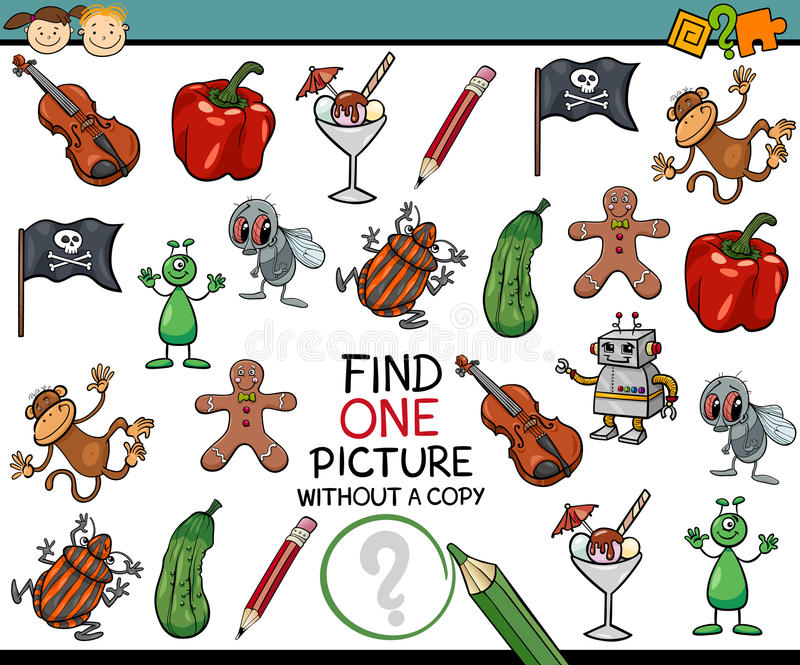 Find single picture game cartoon royalty free illustration