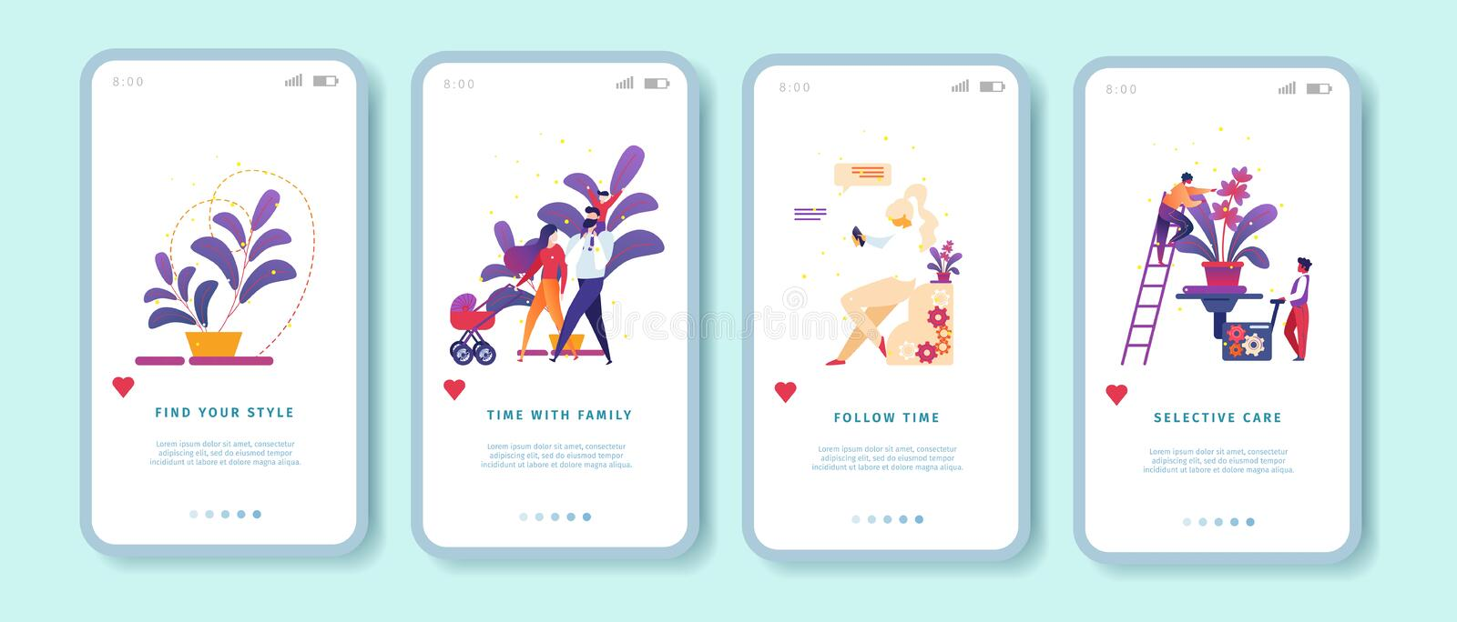 Find Style, Family, Follow Time, Selective Care. Find Your Style, Time with Family, Follow Time, Selective Care Mobile App Page Onboard Screen Set for Website stock illustration
