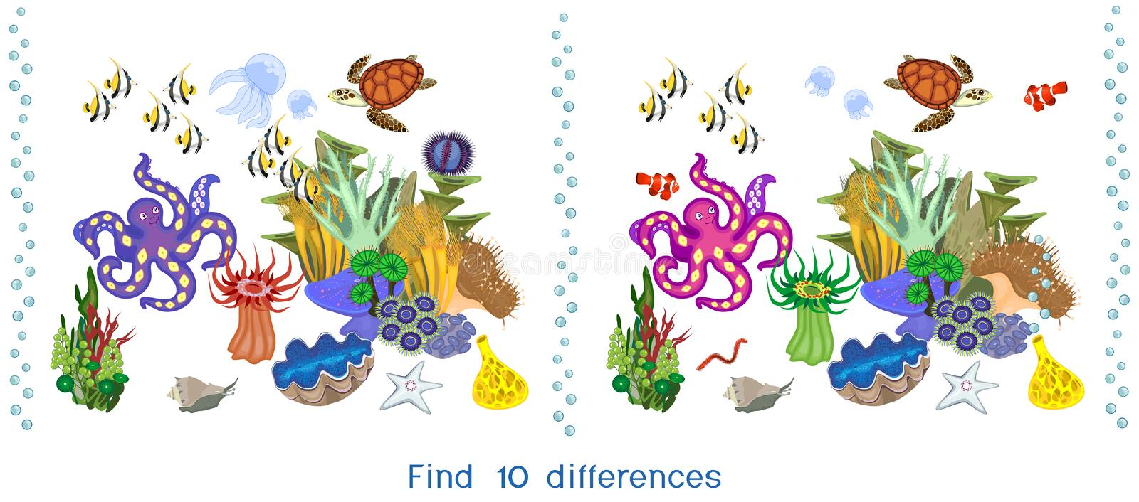 Find ten differences. Game for children with ecosystem of coral reef with different marine inhabitants. Game for children with ecosystem of coral reef with royalty free illustration