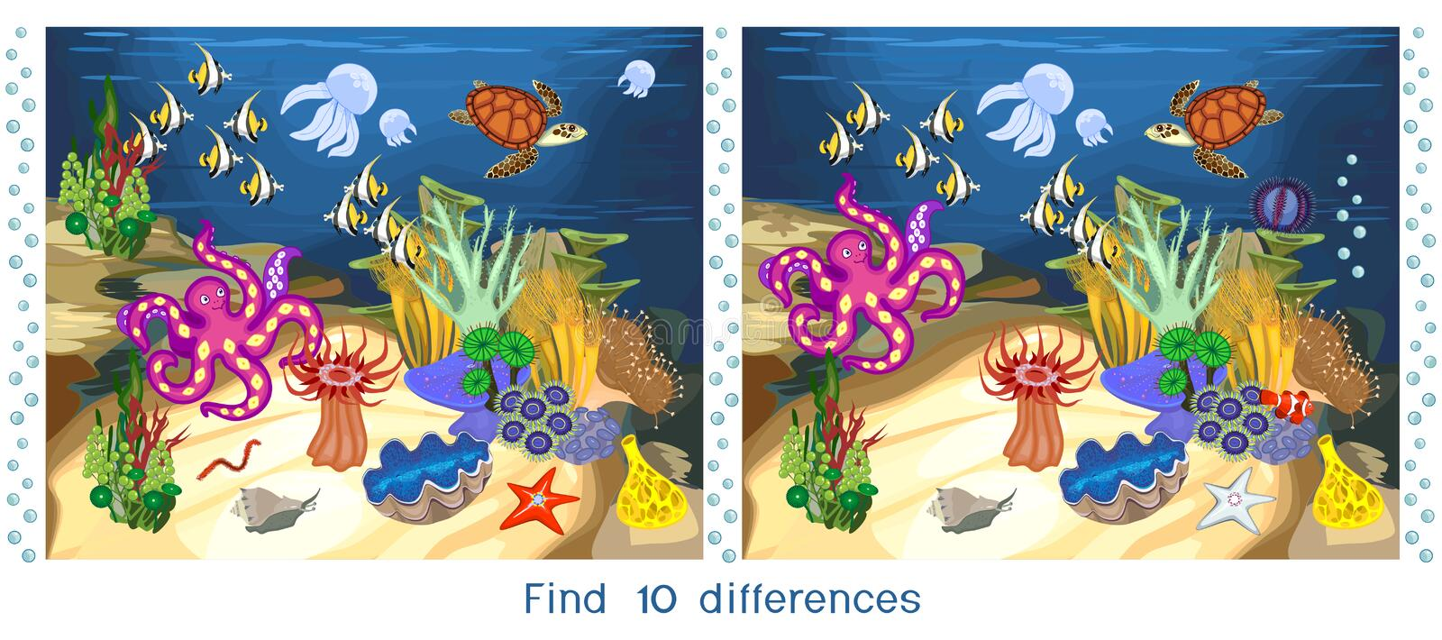 Find ten differences. Game for children with ecosystem of coral reef with different marine inhabitants. Game for children with ecosystem of coral reef with vector illustration