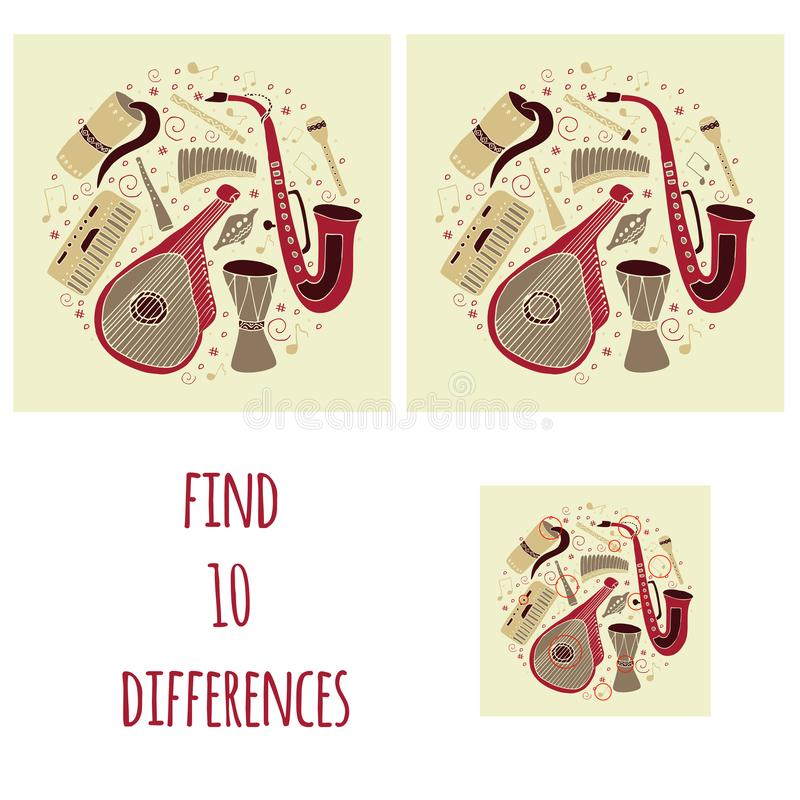 Find ten differences. Set of hand drawn traditional Slavic, Ukrainian musical instruments in circle. Reed pipe, kobza, buhay,. Sopilka, bandura, pan flute etc royalty free illustration