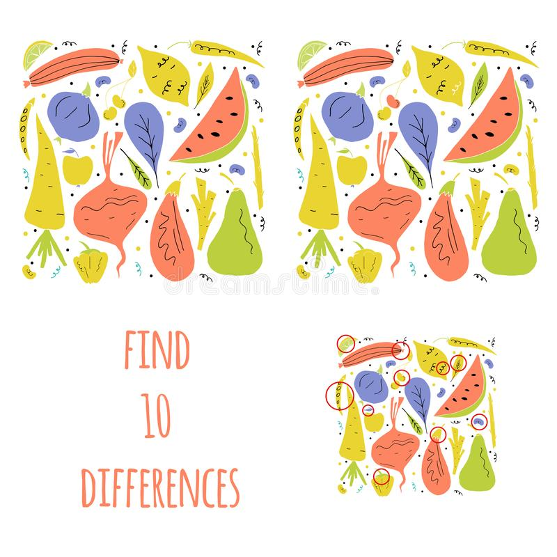 Find ten differences. Vector set of fruit and vegetables in hand drawn cartoon style vector illustration