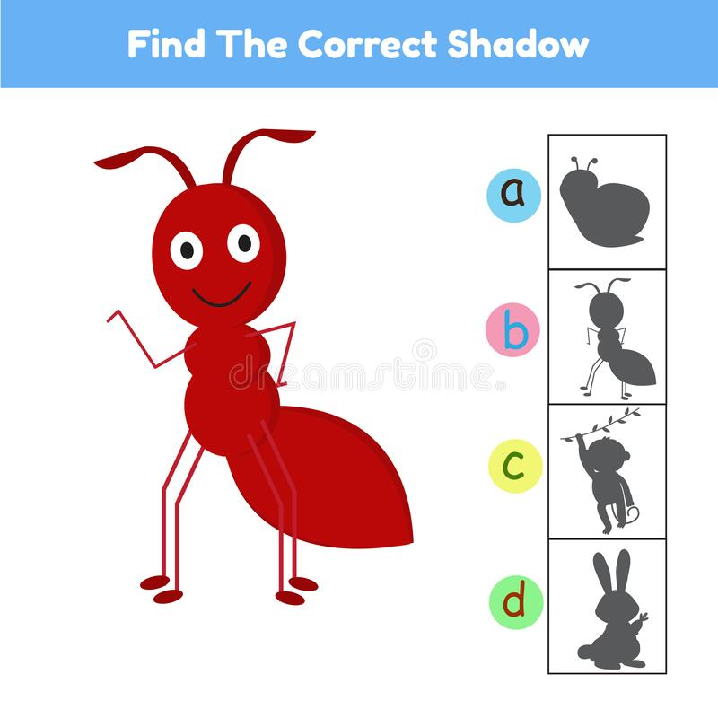 Free Find The Correct Shadow Animal Ant Cartoon Vector Royalty Free Stock Image - 210103926