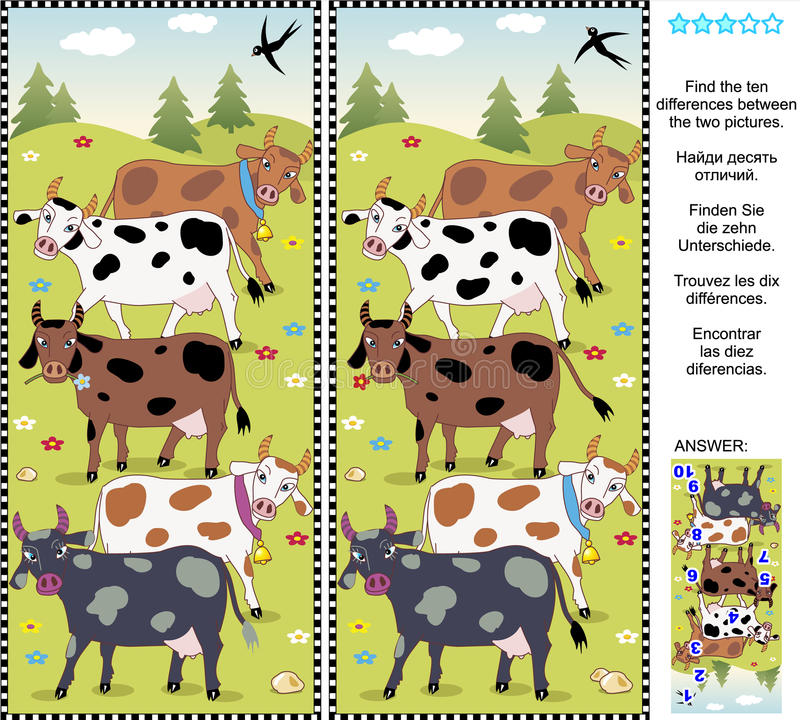 Free Find The Differences Visual Puzzle - Cows Royalty Free Stock Photos - 44797758