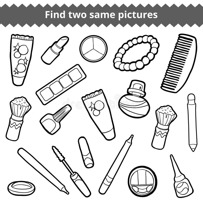 Find two same pictures. Beauty black and white color set vector illustration