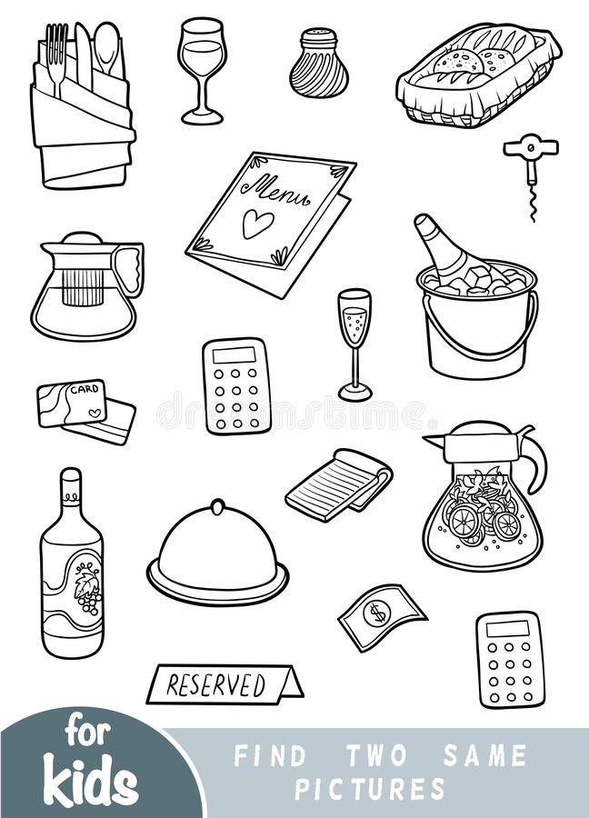 Find two the same pictures, education game, Set of objects for a restaurant. Find two the same pictures, education game for children. Black and white set of stock illustration