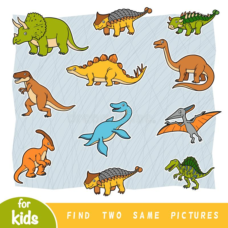 Find two the same pictures, education game, Set of dinosaurs. Find two the same pictures, education game for children. Colorful set of dinosaurs vector illustration
