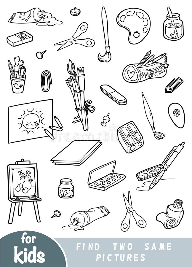 Find two the same pictures, game for children. Set of artists objects. Find two the same pictures, education game for children. Black and white set of artists royalty free illustration