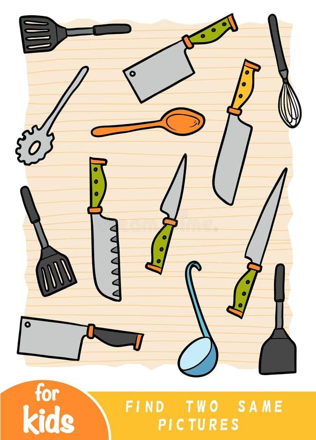 Find two the same pictures, game for children. Color set of kitchen utensils vector illustration
