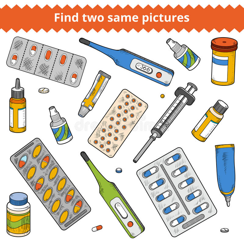 Free Find Two Same Pictures. Medical Color Set Royalty Free Stock Image - 72382886