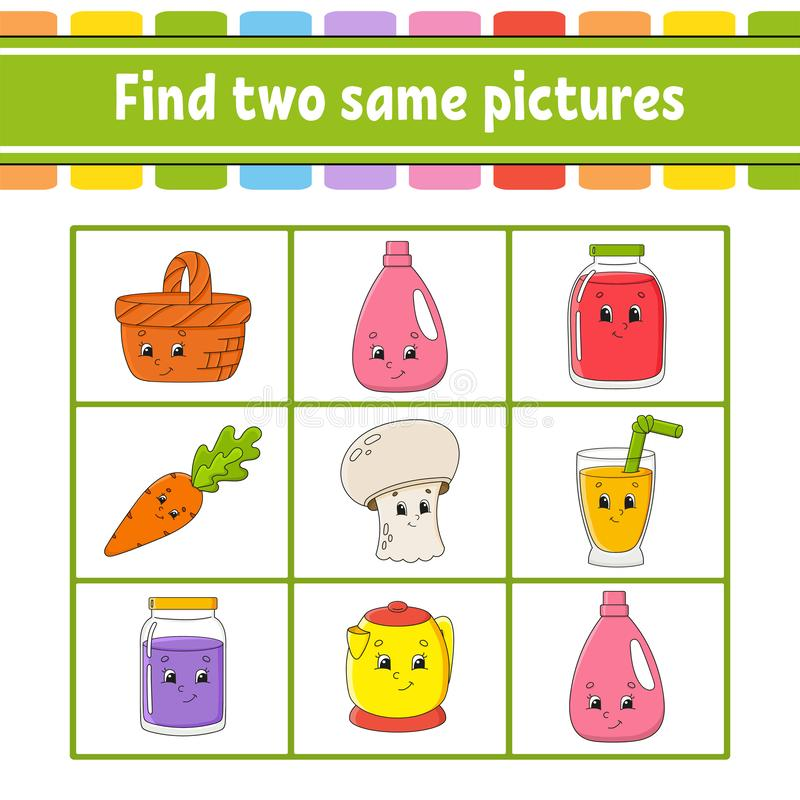 Find two same pictures. Task for kids. Education developing worksheet. Activity page. Game for children. Funny character. Isolated. Vector illustration. Cartoon vector illustration