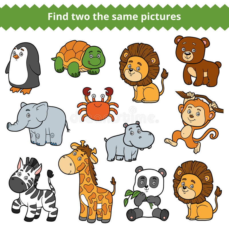 Find two the same pictures, vector set of zoo animals. Find two the same pictures, education game for children, vector set of zoo animals vector illustration