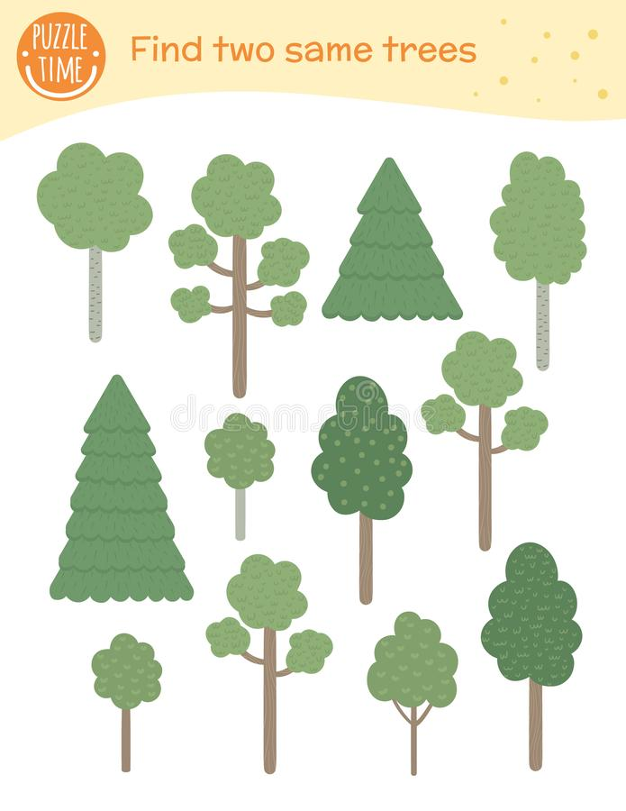 Find two same trees. Matching activity for children. stock illustration
