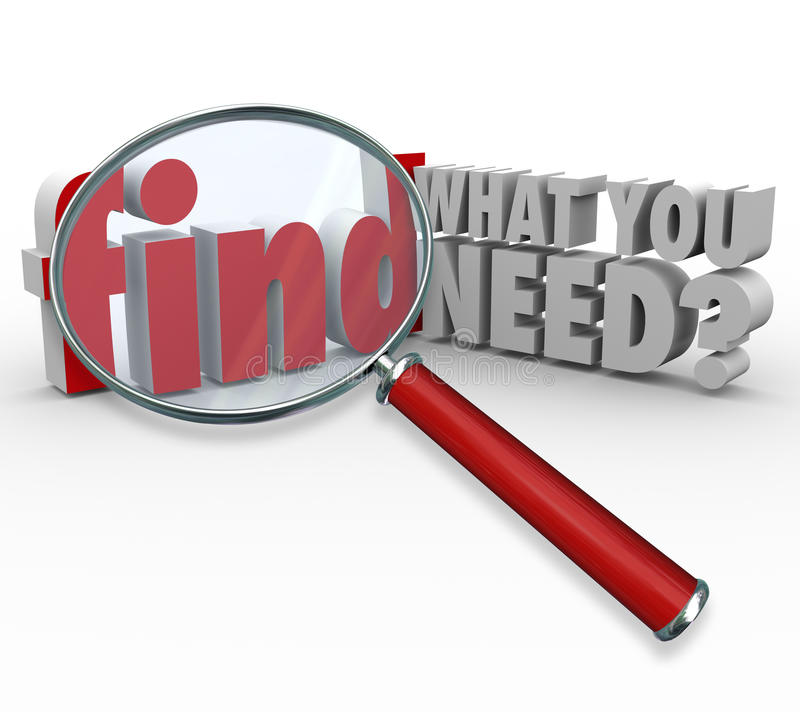 Find What You Need Magnifying Glass Searching for Information. The question Find What You Need? and magnifying glass searching or researching for desired vector illustration