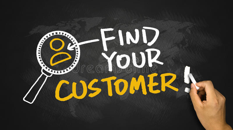 Find your customer hand drawing on blackboard royalty free stock images