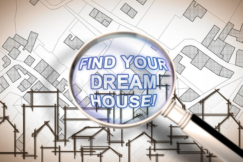 Find your dream house - Searching for a new home concept image with an imaginary city map of territory with buildings and roads royalty free stock photography